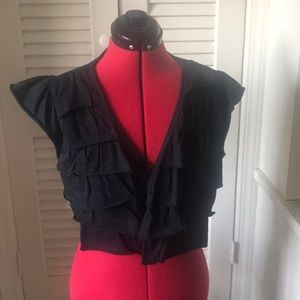 Ruffle shrug black cotton size large new with tags